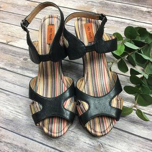 Mix Mooz Black Panama Chunky Peep Toe Heel Size 10